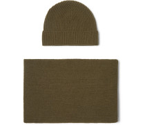 Ribbed Cashmere Scarf And Beanie Set - Army green