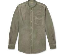 Grandad-Collar Watercolour-Dyed Cotton Oxford Shirt