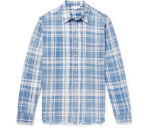 Distressed Checked Cotton-flannel Shirt - Blue