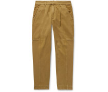 Fraction Pleated Panelled Cotton-Twill and Faille Trousers