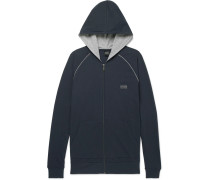 Stretch-cotton Jersey Zip-up Hoodie - Navy