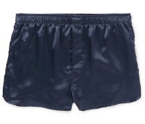 Nelson Silk-satin Boxer Shorts - Navy