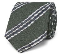 7cm Striped Textured-silk Tie