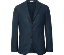 Navy K-jacket Slim-fit Garment-dyed Felted Wool Blazer - Blue