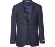 Blue Kei Slim-fit Stretch-wool And Linen Blend Blazer - Blue