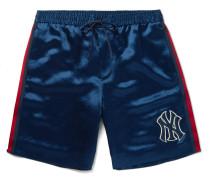 + New York Yankees Appliquéd Satin Shorts - Blue