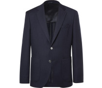 Navy Janson Waffle-knit Virgin Wool Blazer - Navy