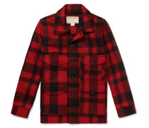 Checked Virgin Wool Overshirt - Red