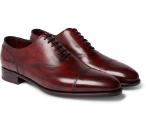 Alford Museum Burnished-leather Cap-toe Oxford Shoes - Burgundy