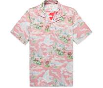 Slim-Fit Camp-Collar Printed Cotton-Chambray Shirt