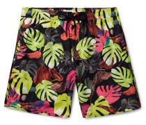 Wide-Leg Mid-Length Printed Swim Shorts
