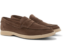 Suede Penny Loafers - Chocolate