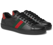 Ace Snake-trimmed Leather Sneakers - Black