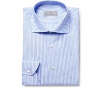 Blue Slim-Fit Pinstriped Linen Shirt