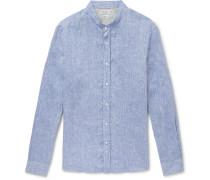 Grandad-Collar Mélange Linen Shirt