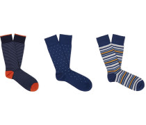 Three-Pack Ribbed Cotton-Blend Socks