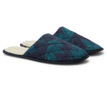 Byron Faux Shearling-Lined Printed Cotton Slippers