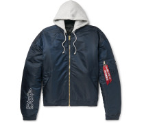 + Alpha Industries Oversized Reversible Embroidered Shell Hooded Bomber Jacket