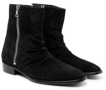 Skinny Stack Ruched Suede Boots