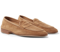 Polperro Nubuck-trimmed Suede Penny Loafers - Brown