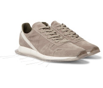 New Vintage Runner Leather-Trimmed Suede Sneakers
