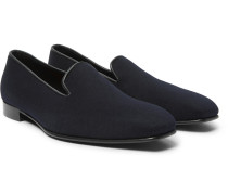 + George Cleverley Leather-trimmed Cashmere Slippers - Navy