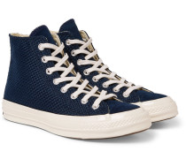 1970s Chuck Taylor All Star Suede-trimmed Woven High-top Sneakers