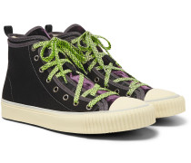 Canvas And Velvet High-top Sneakers - Black