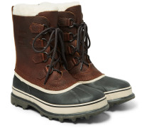 Caribou Faux Shearling-trimmed Waterproof Leather And Rubber Snow Boots - Dark brown