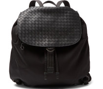 Intrecciato Leather-panelled Canvas Backpack