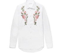Slim-fit Embroidered Cotton-poplin Shirt