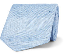 8cm Slub Linen And Silk-blend Tie