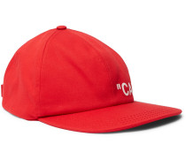 Printed Cotton-twill Baseball Cap - Red
