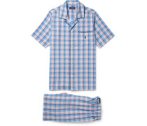 Checked Cotton Pyjama Set - Blue