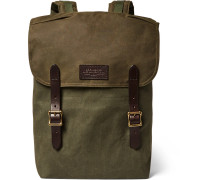 Ranger Leather-trimmed Twill Backpack - Green