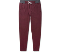 Slim-fit Tapered Loopback Cotton-blend Jersey Sweatpants - Burgundy