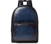 Time-off Vitello Pythagora Patterned Leather Backpack - Navy
