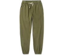 Jeffrey Tapered Cotton-twill Drawstring Trousers - Army green