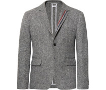 Grey Unstructured Wool And Mohair-blend Blazer