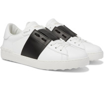 Valentino Garavani Open Striped Leather Sneakers