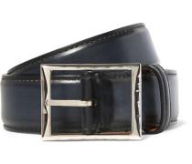 3.5cm Blue Classic Leather Belt