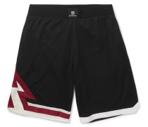 Wide-leg Grosgrain-trimmed Mesh Shorts