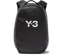 Embroidered Logo-print Faux Leather Backpack - Black