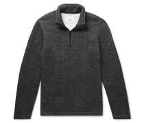 Mélange Fleece-back Cotton-blend Jersey Half-zip Sweatshirt - Gray