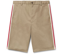 Webbing-trimmed Cotton-twill Bermuda Shorts - Beige