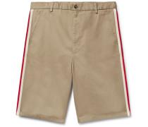 Webbing-trimmed Cotton-twill Bermuda Shorts
