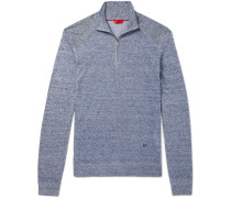 Slim-fit Mélange Linen And Cotton-blend  Half-zip Sweater