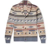 Shawl-Collar Fair Isle Intarsia Linen and Cotton-Blend Cardigan