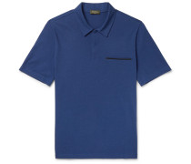 Leather-trimmed Cotton, Wool And Cashmere-blend Piqué Polo Shirt - Blue
