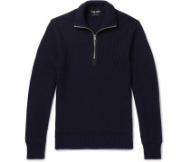 Ribbed Wool And Cashmere-blend Half-zip Sweater - Navy